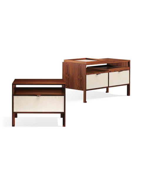 Giorgetti Mea Bedside Table, Single e Double Drawer