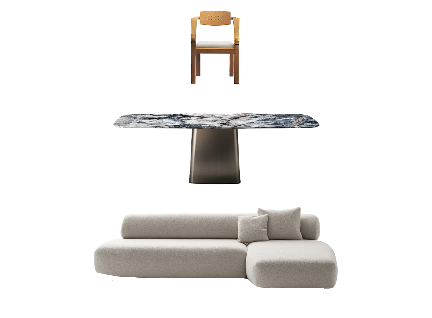 Giorgetti Spring Wooden Chair, Arketipo Icon Table, Moroso Gogan Sofa