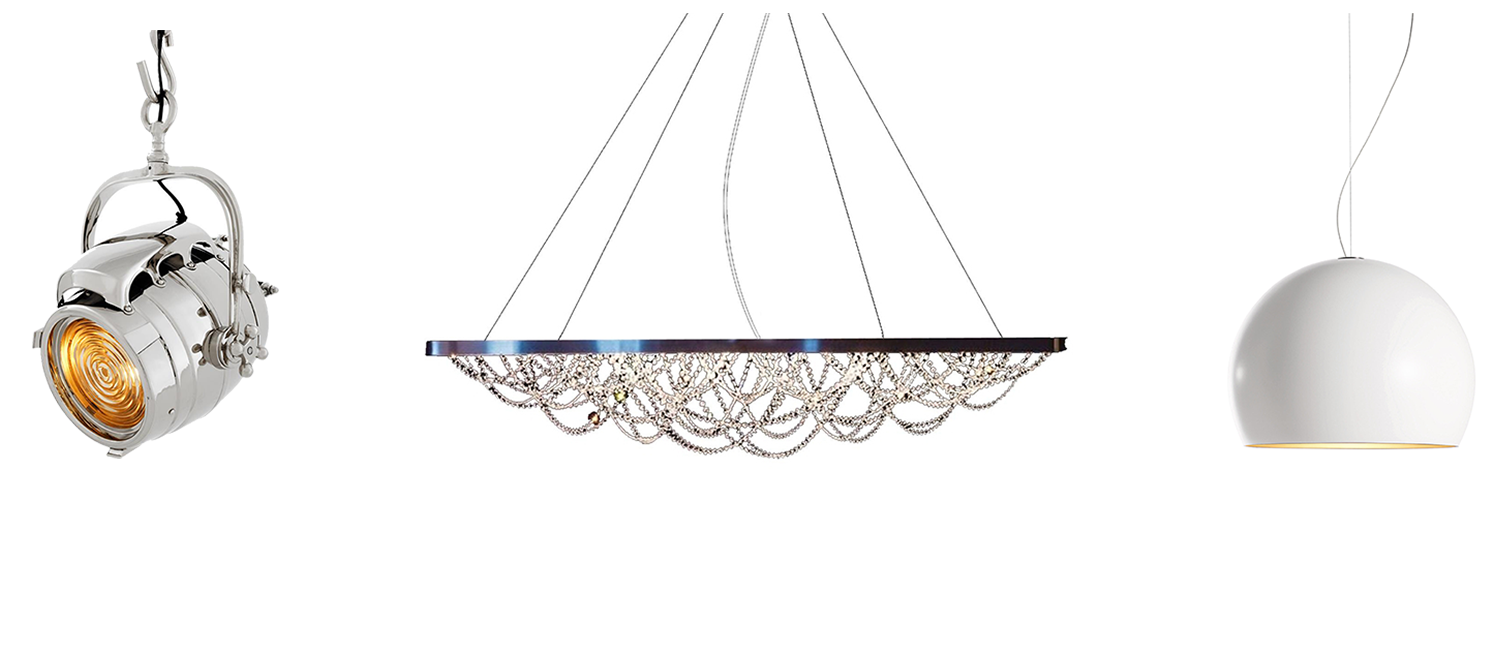 Eichholtz De Havilland Lamp, Cattelan Italia Cristal Ceiling Lamp, Opinion Ciatti LAlampada Lamp