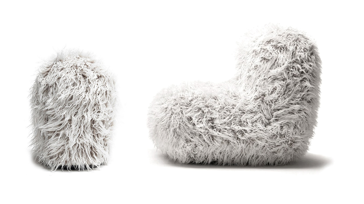 Opinion Ciatti Chummy Armchair and Pouf White Hair