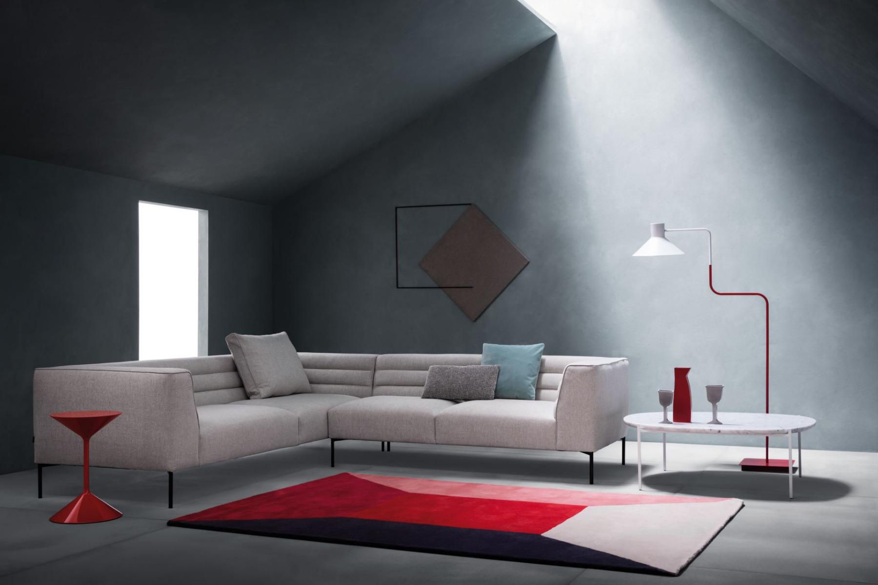 Zanotta Botero Sofa Fabric Grey In Living Room