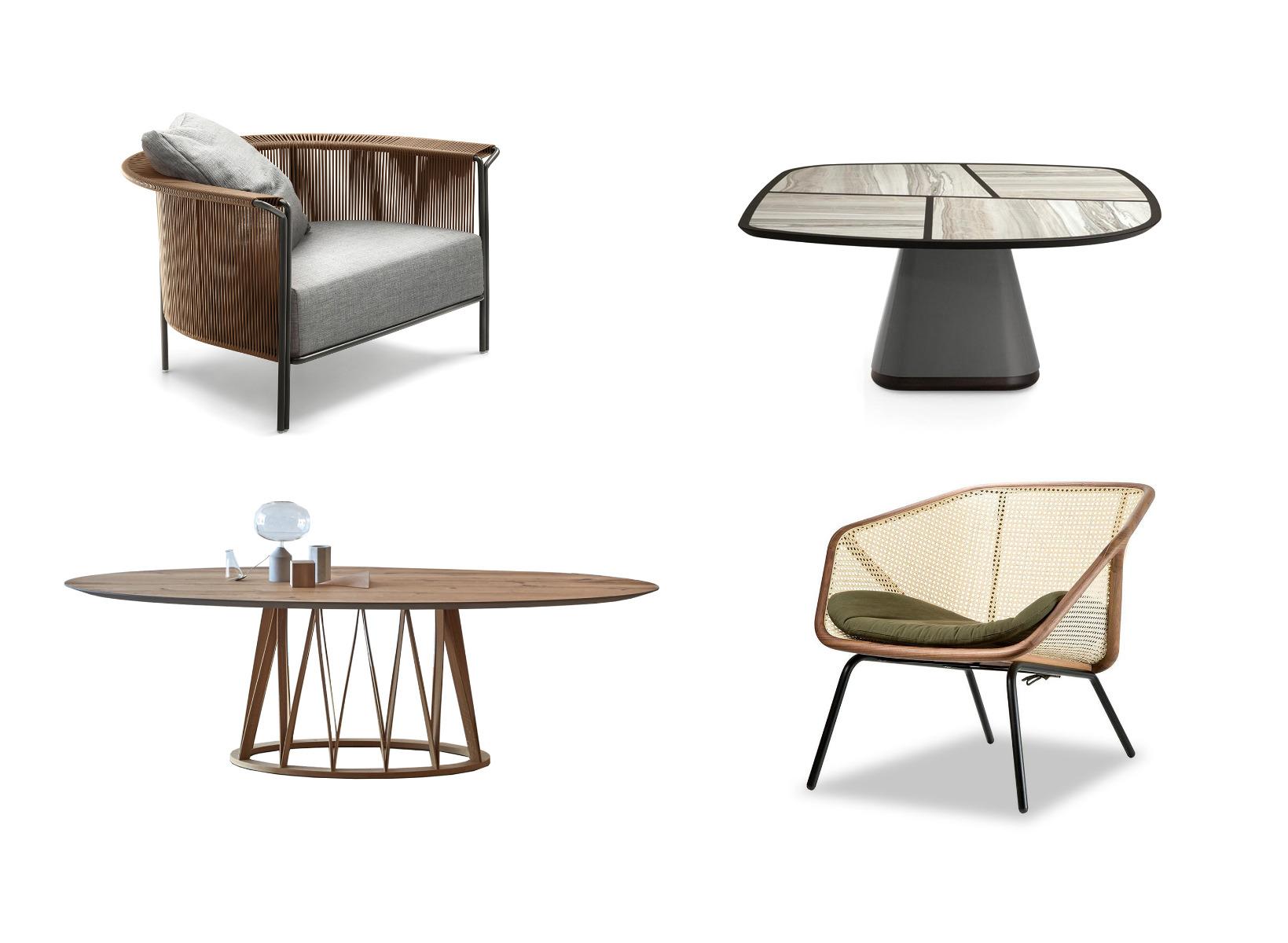 Giorgetti Disegual Table, Lema Alton Armchair, Miniforms Acco Table, Miniforms Colony Armchair