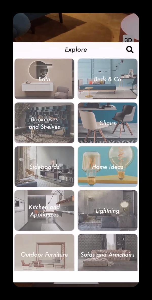 Brera Interni Augmented Reality App Menu