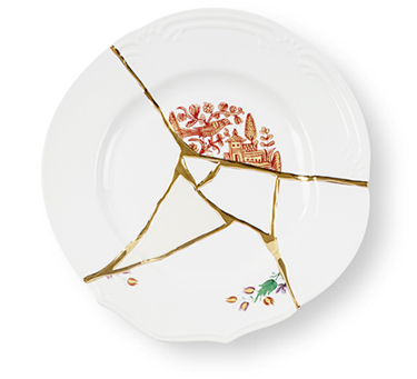 Seletti Kintsugi Large Dinner Plate Porcelain Gold
